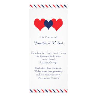 Americana Hearts Wedding Program Full Colour Rack Card