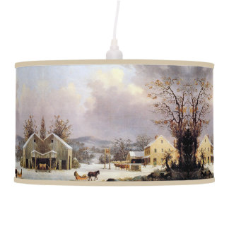 Americana Horse Sleigh Country Inn Hanging Lamp