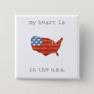 Americana   My Heart Is In The USA Map 2 Inch Square Button