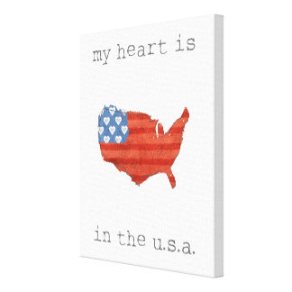Americana | My Heart Is In The USA Map Canvas Print