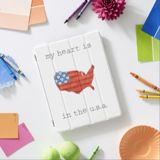 Americana | My Heart Is In The USA Map iPad Cover