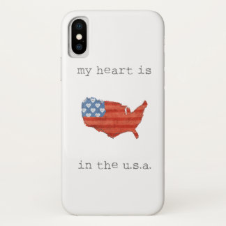 Americana | My Heart Is In The USA Map iPhone X Case