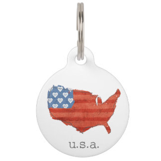 Americana | My Heart Is In The USA Map Pet Name Tags