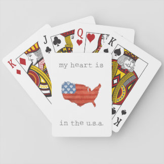 Americana | My Heart Is In The USA Map Playing Cards