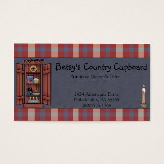 Americana Primitive Country Red, white, Blue Plaid Business Card