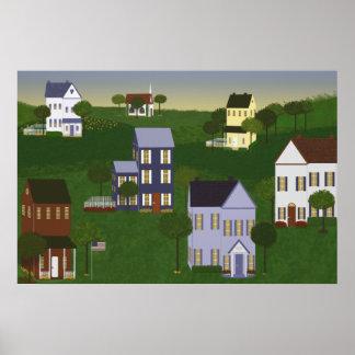 Americana Primitive Landscape Poster