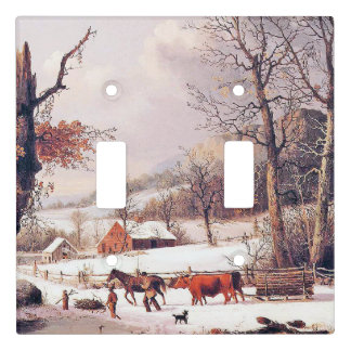 Americana Snow Horse Cart Farm Light Switch Cover