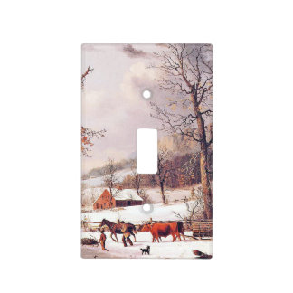 Americana Snow Horse Farm Light Switch Cover