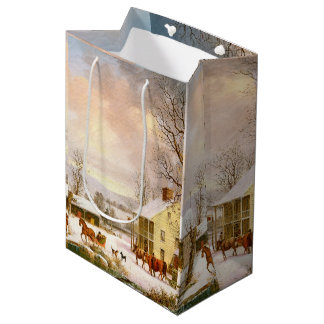 Americana Snow Horse Sleigh Country Store Gift Bag