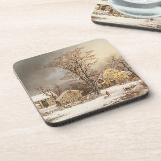Americana Snowy Winter Durrie Farm Coaster