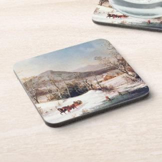 Americana Snowy Winter Horse Sleigh Farm Coaster