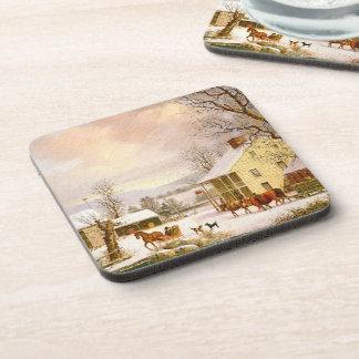 Americana Snowy Winter Horse Sleigh Store Coaster