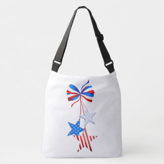 Americana Stars with a Bow Red White Blue Crossbody Bag