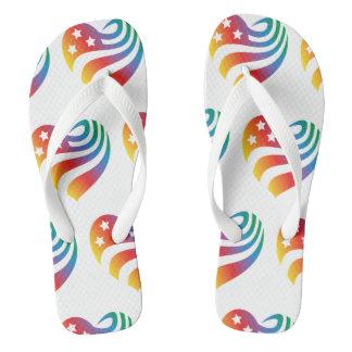 AmericanHeart - Rainbow Flip Flops