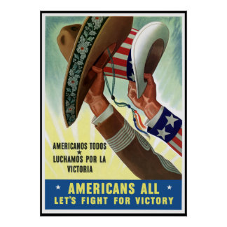 Americans All Let's Fight For Victory -- Border Poster