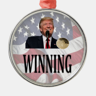 "Americas 45th President Trump ""Winning"" Silver-Colored Round Ornament"