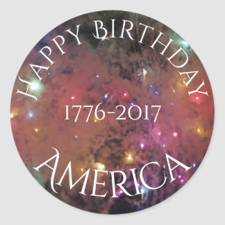 Americas Birthday Round Sticker