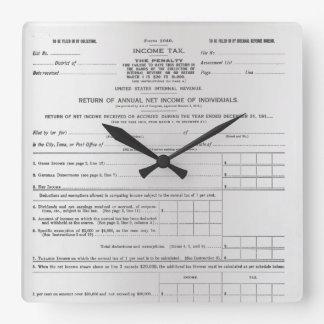 America's First Income Tax Form Silver Gray Black Square Wall Clock
