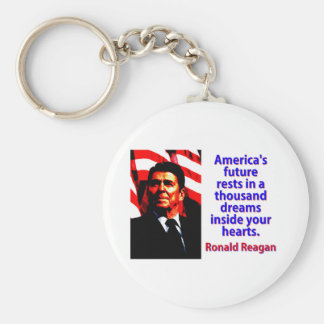 America's Future Rests  - Ronald Reagan Basic Round Button Keychain