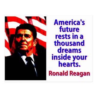 America's Future Rests  - Ronald Reagan Postcard