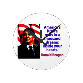 America's Future Rests  - Ronald Reagan Round Clock