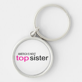 Americas Next Top Sister Silver-Colored Round Keychain