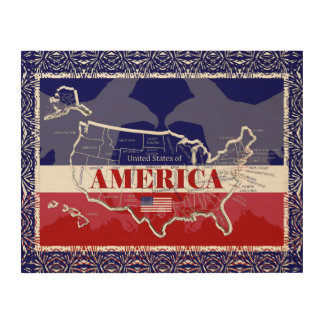 America's States Colors Bald Eagle Wood Wall Art#3 Wood Print