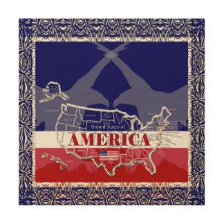 America's States Colors Bald Eagle Wood Wall Art#4 Wood Wall Art
