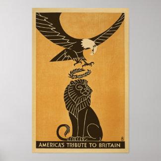 Americas Tribute To Britain WWI Britain Propaganda Poster
