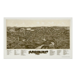 Amesbury, MA Panoramic Map - 1890 Poster