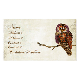 Amethyst & Amber  Owl Business Card/Tags