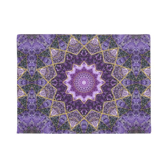 Amethyst and Gold Kaleidoscope  Mandala Doormat