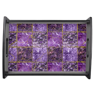 Amethyst and Gold  Square Pattern Serving Tray