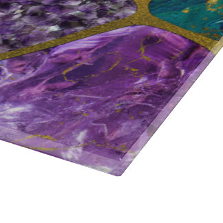 Amethyst and Green Marble Gold Cutting Board