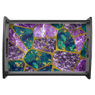Amethyst and Green Marble Gold Serving Tray