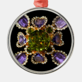 Amethyst and Peridot Silver-Colored Round Ornament