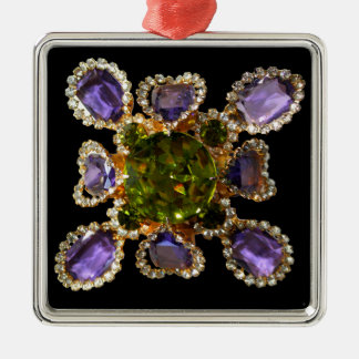 Amethyst and Peridot Silver-Colored Square Ornament