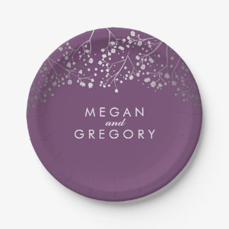 Amethyst and Silver Baby's Breath Wedding 7 Inch Paper Plate