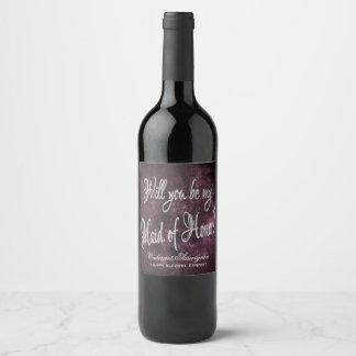 Amethyst Ask | Maid of Honor Plum Sangria Purple Wine Label