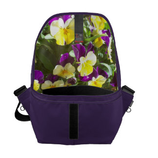Amethyst Bag with Pansies Inside Commuter Bag