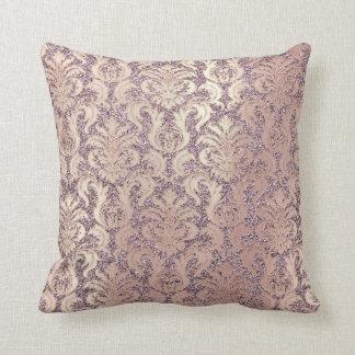 Amethyst Blush Rose Gold Metallic Damask Glitter Throw Pillow