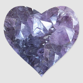 Amethyst Crystal Cluster Heart Sticker