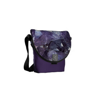 Amethyst Crystal Cluster Messenger Bag