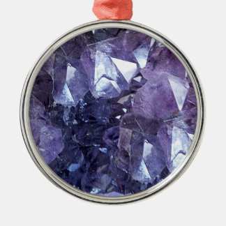 Amethyst Crystal Cluster Silver-Colored Round Ornament