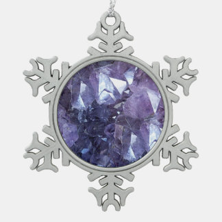 Amethyst Crystal Cluster Snowflake Pewter Christmas Ornament