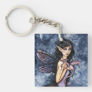 Amethyst Dragon Purple Fairy Fantasy Art Keychain