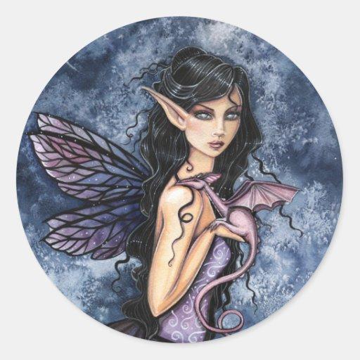 Amethyst Dragon Purple Fairy Fantasy Art Stickers