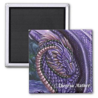 Amethyst Dragon Square Magnet