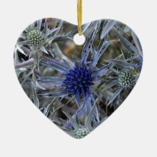 Amethyst eryngo (Eryngium amethystinum) Ceramic Heart Ornament