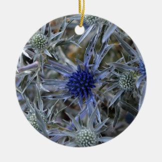 Amethyst eryngo (Eryngium amethystinum) Round Ceramic Ornament